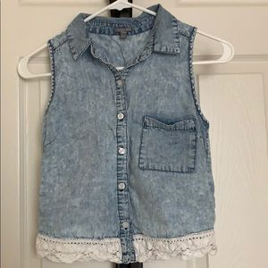 Blue light-washed tank top with lace embroidery